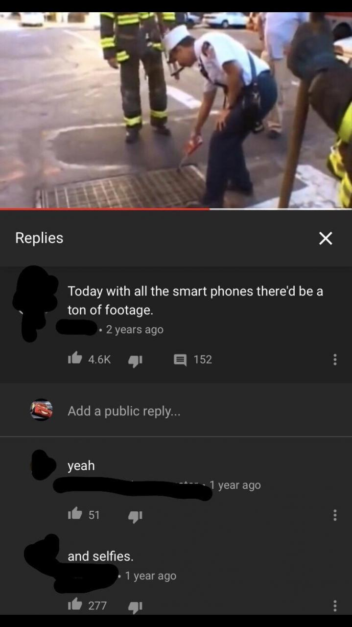 "Found on the 9/11 footage of first plane. ""And selfies"" we're millennials not heartless."