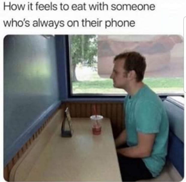How it feels to eat with someone who's always on https://inspirational.ly