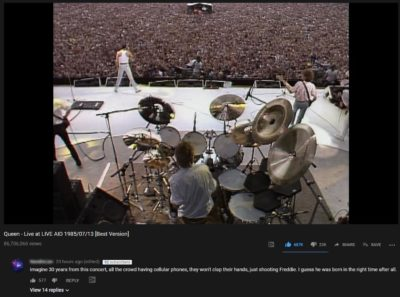 On a video from Queen's Live Aid Performance