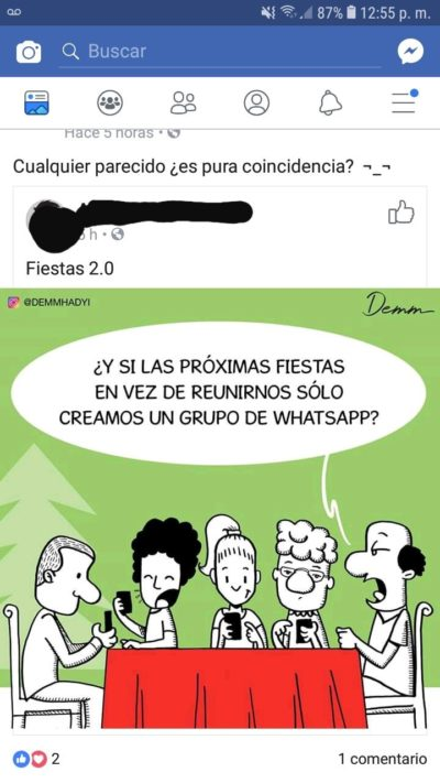 """Teléfonos son malos. """"What if next holidays instead of meeting we just create a whatsapp group chat?"""