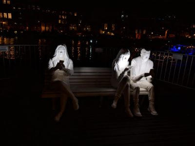 "This is one of the artworks at the Amsterdam Light Festival, ""Absorbed By Light"""