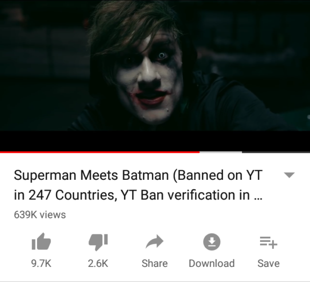 Superman Meets Batman (Banned on YT in 247 Countries, YT Ban verification in 639K views Share https://inspirational.ly