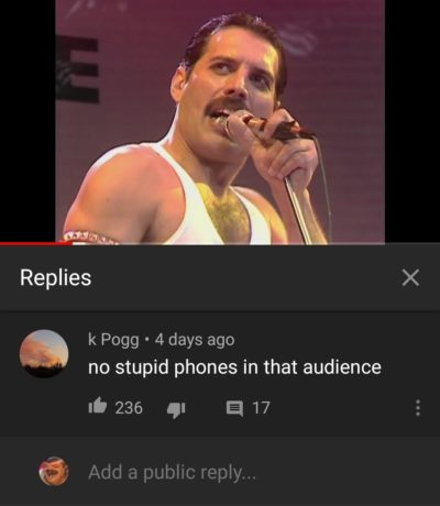 In every old concert video in youtube: