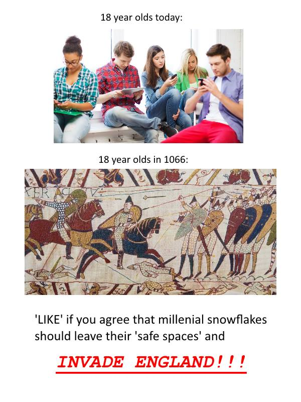 "18 year olds today: 18 year olds In 1066: 6 .'Cu '4 m"" "" 6"" '/n/ y I}... I"" 3:, 44:1"" 'LIKE' if you agree that millenial snowflakes should leave their 'safe spaces' and https://inspirational.ly"