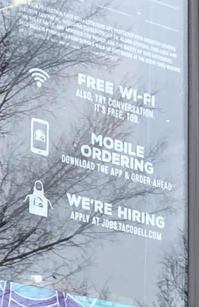 "Taco Bell ""Also try conversation, its free too"" while promoting their phone app directly below it.."