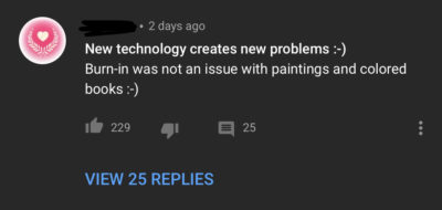 On a video testing OLED screen burn in