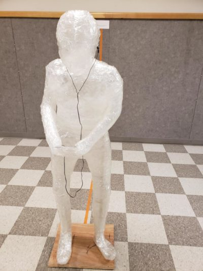 My high school art class did a tape art project on controversial issues. This was one of the tape statues a group did before someone lit a project on fire and all the projects had to be taken down.