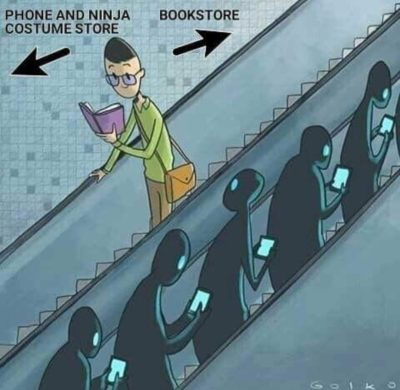 Ninjas going to the bookstore
