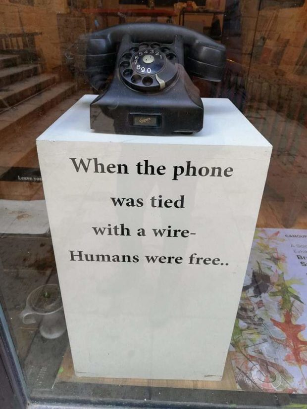 When the phone was tied With a wire- https://inspirational.ly