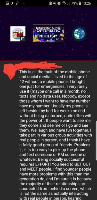 On a video about loneliness (I couldn't fit it all in the screenshot)