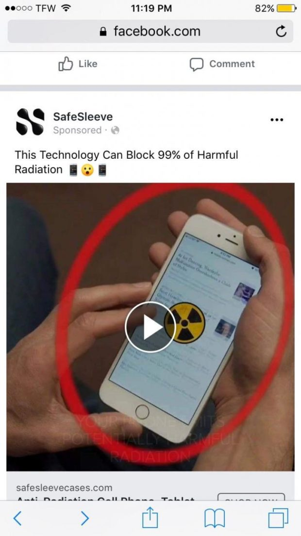 "uooo TFW ""9 11:19 PM 82%.} B facebook.com C 0') Like C) Comment x' SafeSleeve U This Technology Can Block 99% of Harmful Radiation I O I safesleevecases.com A..A.: I'm-41-52-.. A-"" PAL--- 'I'-I.l-a. I ~....- ....... I M _- iri- https://inspirational.ly"
