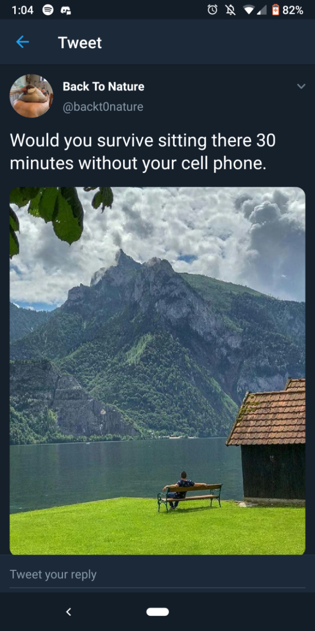 """1:0460: Gfiv' l82°/o (- Tweet ' g Back To Nature v 'v @backtOnature Would you survive sitting there 30 minutes without your cell phone. ,1/ ', 'tlflfifi DOS 1 bum; 7/1713""""?!  . 'I'VI'J'JI lflbfillfl; .'.r war-1151415121."""" 7.1 .v """"If""""? 226771157324 .'.- ' ' x: 4113' 7L-'I'71751LZVIII-i N '.' '€-""""""""-11r'f.C'/.'.J}T.' I'L f. I'Iw/J i ' l ' - - —/ '— _ '::.. #7; _ _ I — .' a ' ' 1 Tweet https://inspirational.ly"""