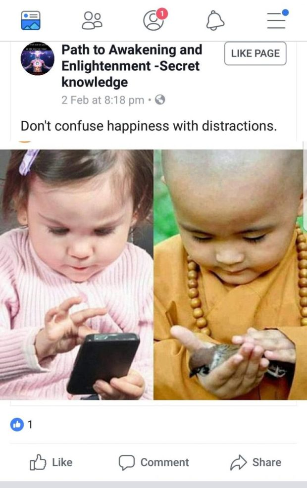 a 88 @y C3 3' 6 Path to Awakening and Enlightenment -Secret knowledge 2Feb at8:18 pm '3 Don't confuse happiness with distractions. [b Like C) Comment https://inspirational.ly