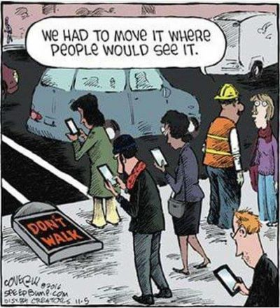 Haha! People don't look up anymore because they are on their phones!