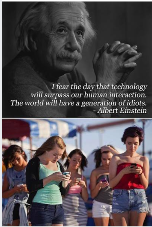 I fear the day that technology will surpass our human interaction. The world will have a generation of idiots. - https://inspirational.ly