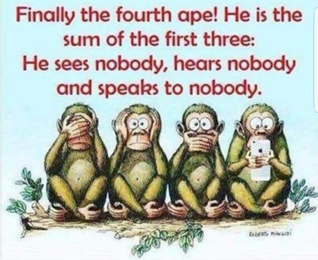 "Finally the fourth ope! He is the sum of the first three: He sees nobody, heors nobody and speaks to nobody. _ V ""Q (65'. "" https://inspirational.ly"