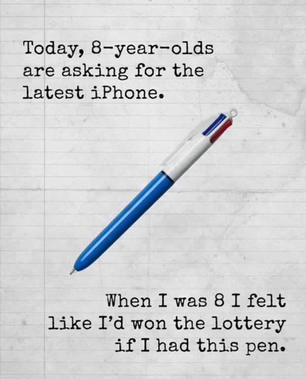 Today,8-year-olds are asking for the latest iPhone. When I was 8 I felt like I'd won the lottery if I had this pen. https://inspirational.ly