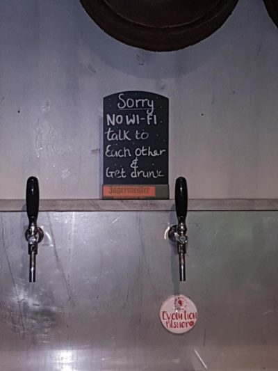 This sign we spotted in a bar in Liverpool, UK.