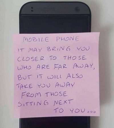 Here is hand written note for social media. Phones bad.