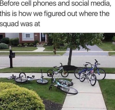 Bikes in the middle of the sidewalk good, phones bad.
