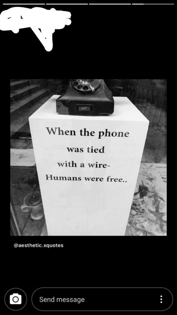 """. 'e R'. 1* K 4"""" ' When the phone was tied with a wire- H unlans were free"""" @aesthetic.xquotes @ https://inspirational.ly"""