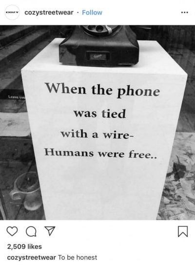 Humans are slaves because our phones aren't attached to a wall, to be honest