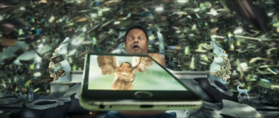 Anyone else seen 2.0? It's the ultimate PHONES ARE BAD movie. In this scene, a room full of phones flies into a hapless dude's stomach and explodes him. (AKA Enthiran 2, with Chitti the Robot)