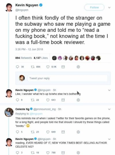 """Go read a book"", people tell to a professional book reviewer and to an author regarding mobile games"