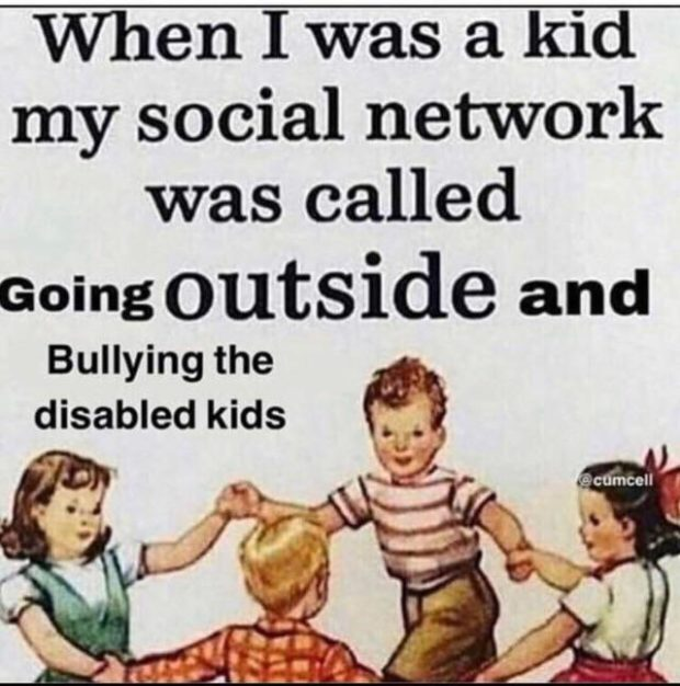 w my social network was called Going outside and Bullying the disabled kids Ll , 3, https://inspirational.ly