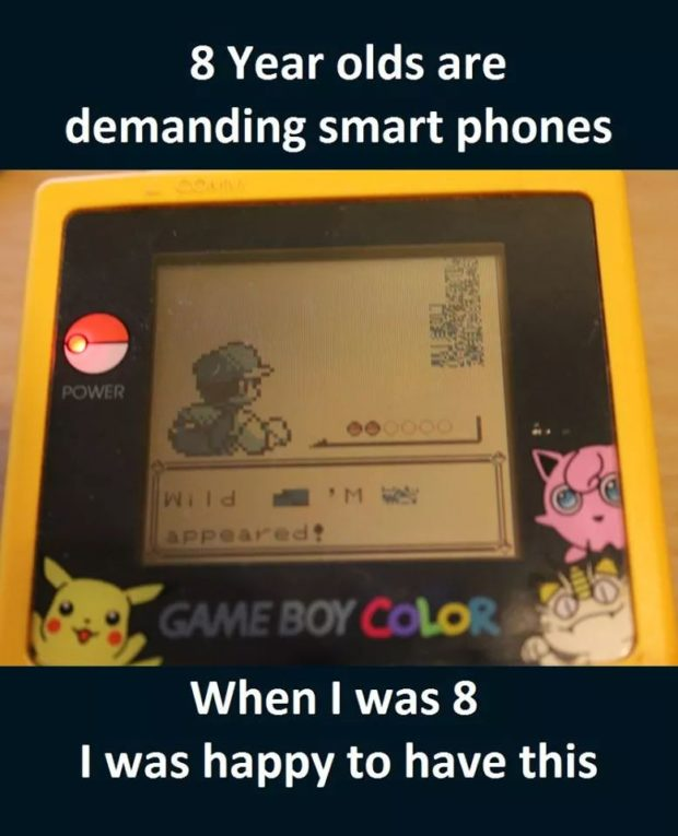 "8 Year olds are demanding smart phones r a a ""' O 3 a When I was 8 I was happy to https://inspirational.ly"