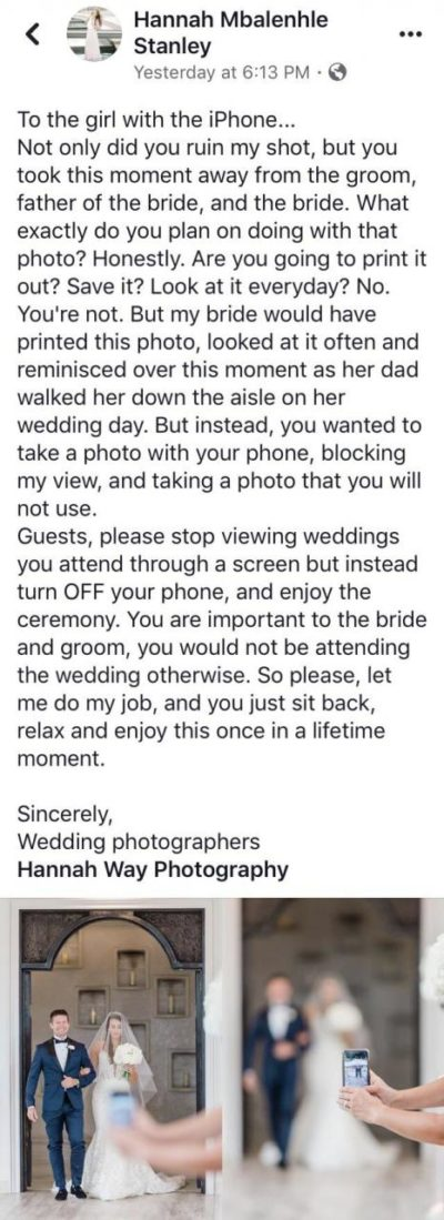 You know it's bad to get in the way of a wedding photographer, but did you also know that phones at weddings are bad altogether?