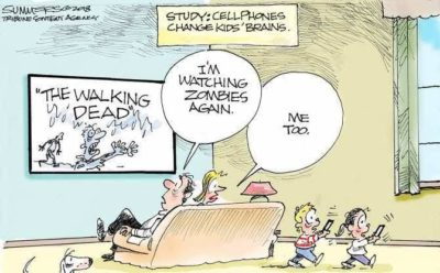 Kids using phones = zombies