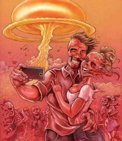 Nuclear attack good, hot chick/stud couple selfie bad.