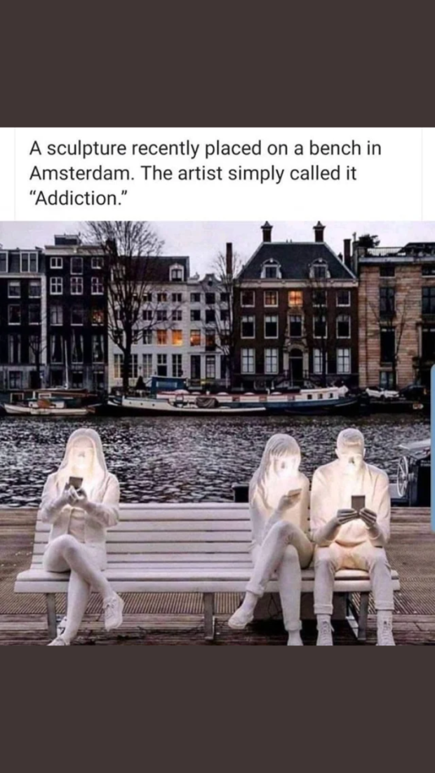 "A sculpture recently placed on a bench in Amsterdam. The artist simply called it ""Addiction."" https://inspirational.ly"