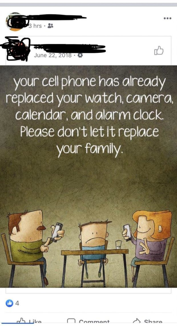 June 22, 0 : - your cell phone has already replaced your watch. camera. calendar. and alarm clock. Please don't let it replace your Family. https://inspirational.ly