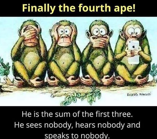 Finally the fourth ape! He is the sum of the first three. He sees nobody, hears nobody and speaks to nobodv. https://inspirational.ly