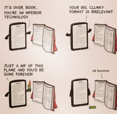 millenial book good boomer kindle bad