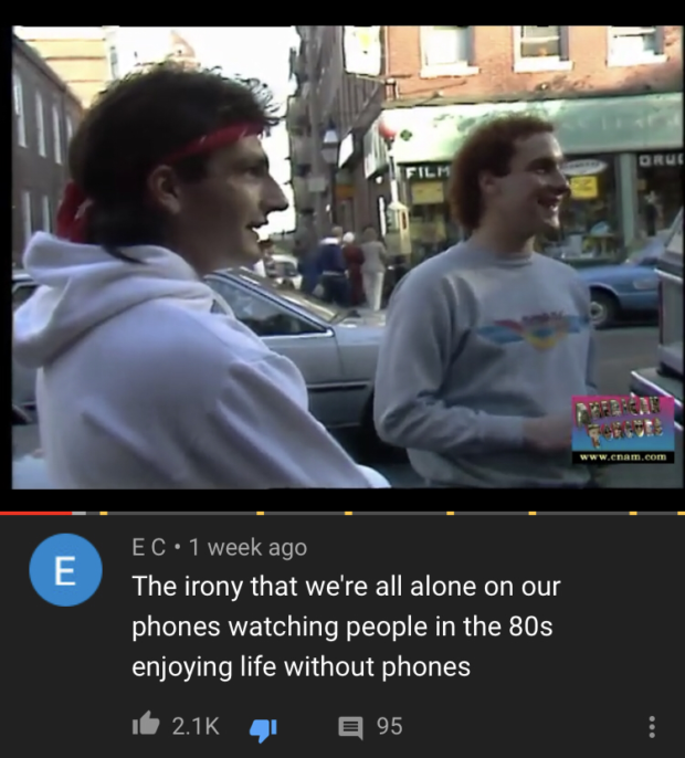E C - 1 week ago The irony that we're all alone on our phones watching people in the 803 enjoying life without phones It 2.1K a 95 https://inspirational.ly