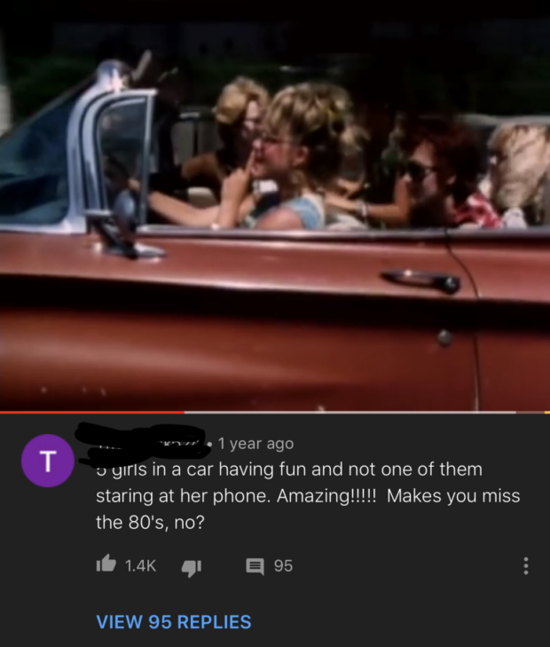 ._ 'wn . 1 year ago 1) gll'lS in a car having fun and not one of them staring at her phone. Amazing!!!!! Makes you miss the 80's, no? I. 1.4K 'I a 95 VIEW 95 REPLIES https://inspirational.ly