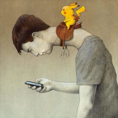 Ah yes, if you look at your phone Pikachu will elongate your neck and ride it