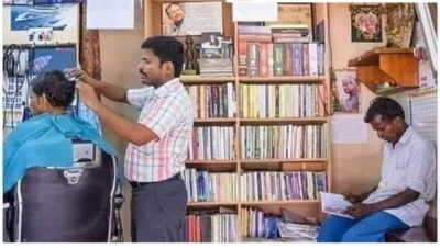 A barber in India set up a library in his shop instead of a TV. Those who read the books while waiting will get 30% off.