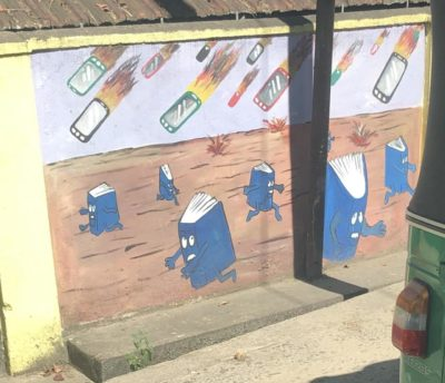 Found on a mural in Sri Lanka. Phones kill books!