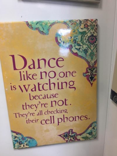 phones bad, dance good. for your fridge.