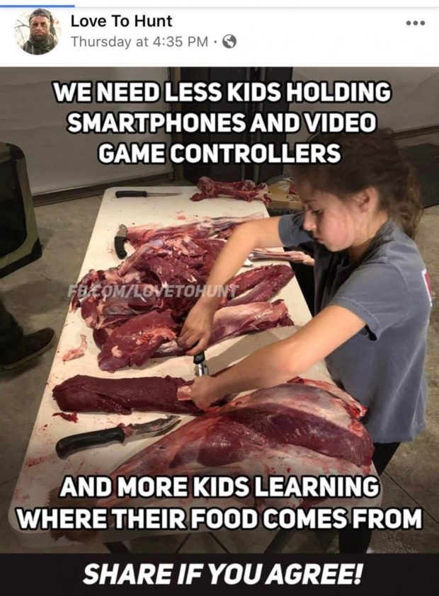 "A. , . Love TO Hunt . Thursday at 4235 PM - 6 WE NEED LESS KIDS HOLDING SMARTPHONES AND VIDEO GAME CONTROLLERS AND MORE KIDS LEARN'INO WHERE THEIR FOOD COMES FROM SHARE IF YOU AGREE!"" https://inspirational.ly"