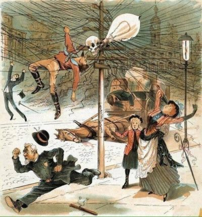 Anti electricity cartoon from 1889