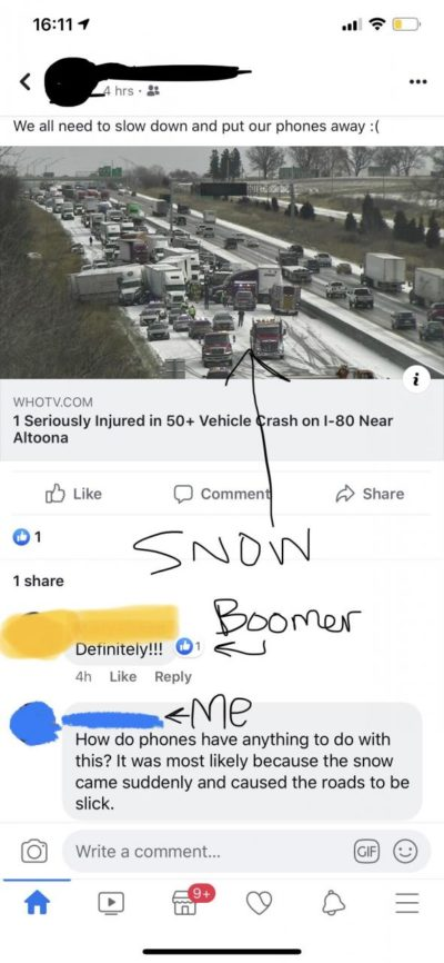 Sudden snow caused the crash? Nah. Texting. I'll share it on Facebook though!