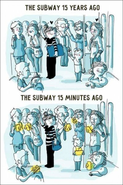 Subway is full of love before phones