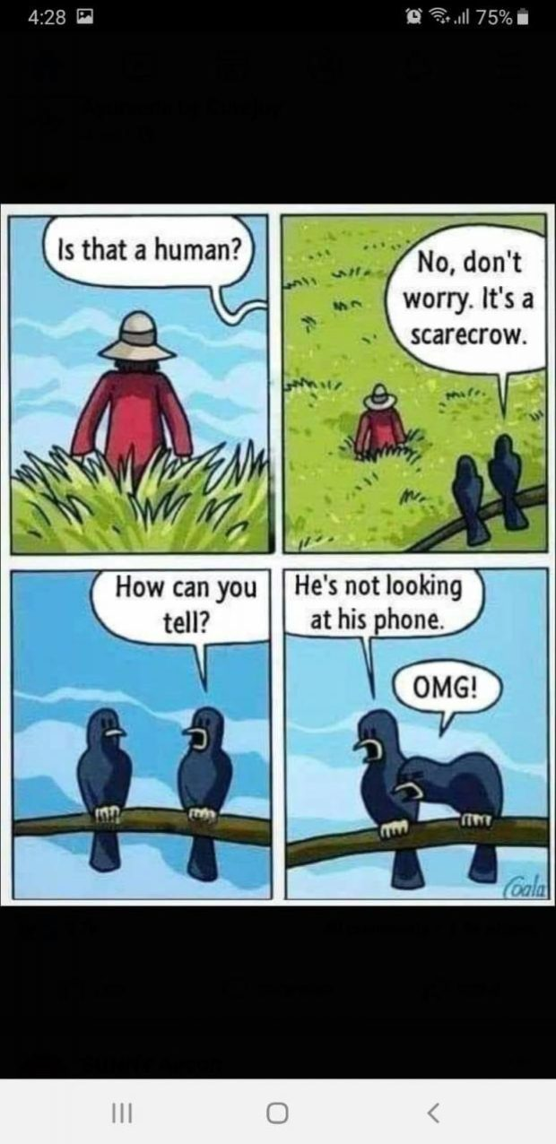 """4:28 [i '0' 3...."""" 75% I [No, don't ' worry. It's a scarecrow. How can you He's not looking tell? at his phone. https://inspirational.ly"""