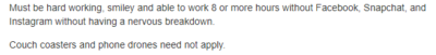 Under the requirements for a job I was looking at