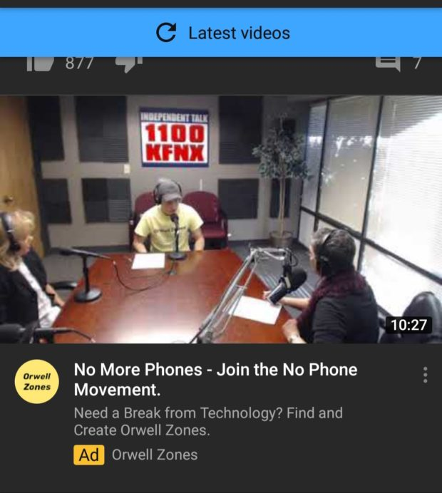 C Latest videos No More Phones - Join the No Phone Movement. Need a Break from Technology? Find and Create Orwell Zones. https://inspirational.ly